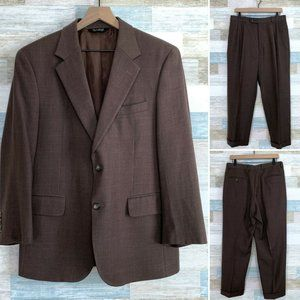Jos A Bank Wool Cashmere Suit Brown 40S 34x29